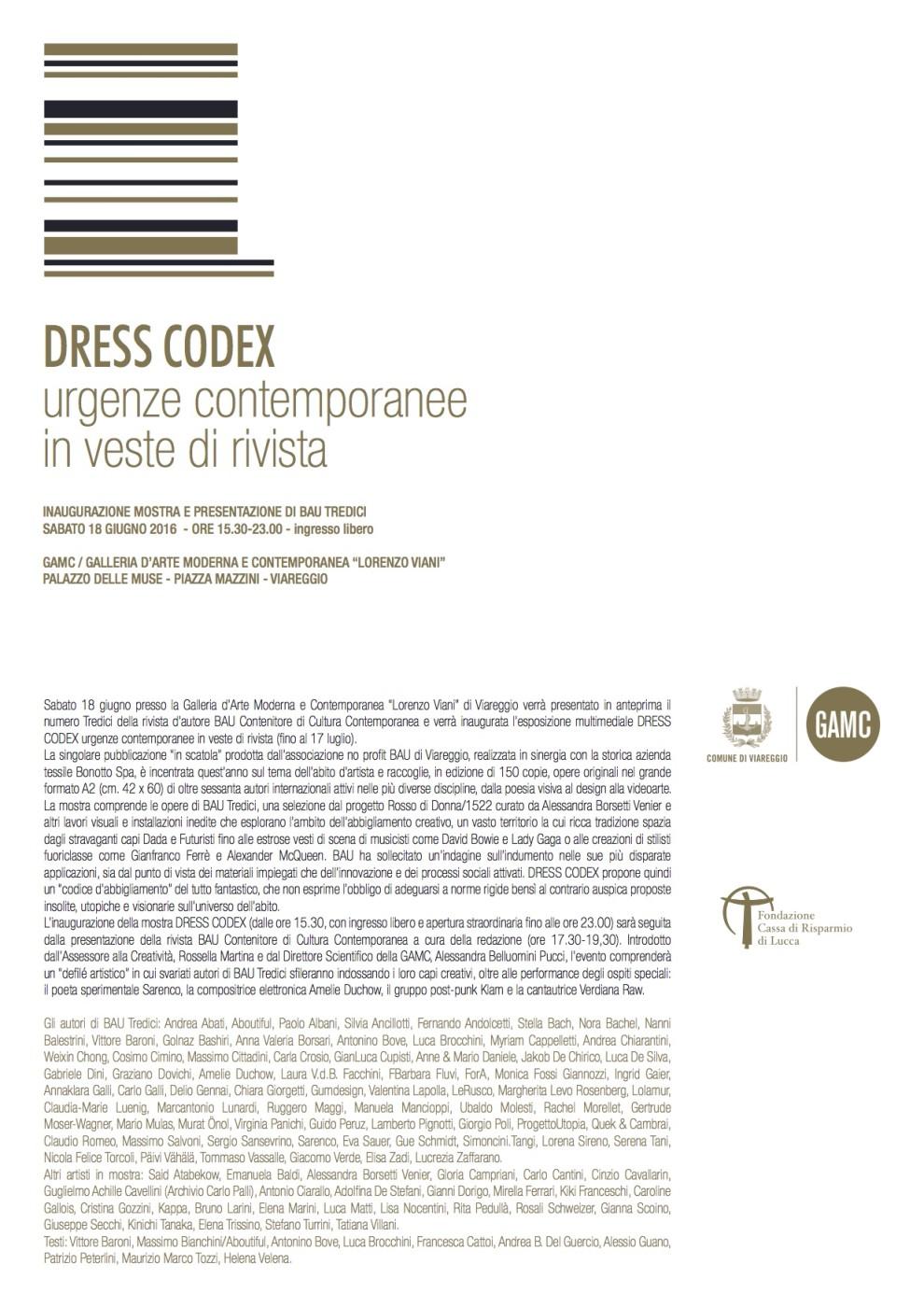 comunicato stampa - Dress Codex - GAMC Viareggio 18 giugno 2016